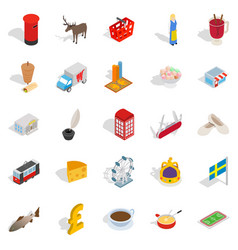 holiday in europe icons set isometric style vector image vector image