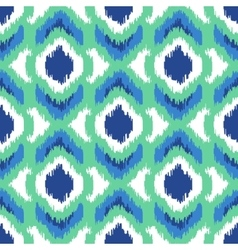 Ikat geometric seamless pattern Turquoise vector image vector image