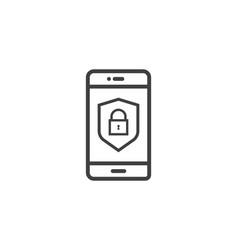 Mobile phone shield line icon privacy data vector