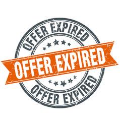 Offer expired round grunge ribbon stamp vector