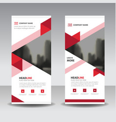 Red triange business roll up banner flat design vector