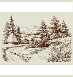 Rustic house in alpine landscape vector