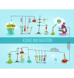 Science and education laboratory flat banner vector