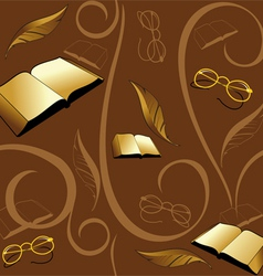 seamless background with books and pens vector image vector image