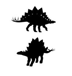 Stegosaurus dinosaur silhouettes vector image vector image