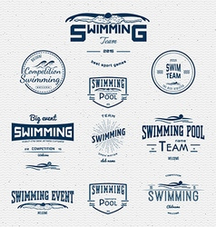 Swimming badges logos and labels for any use vector