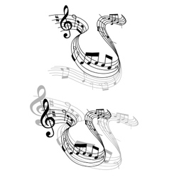 Swirling music score with musical notes vector image vector image