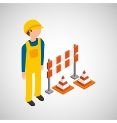 under construction worker barrier cone vector image