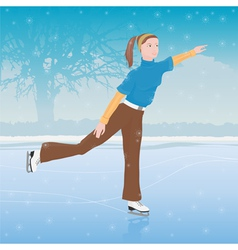 Woman skating vector