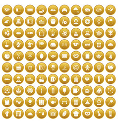 100 tea time food icons set gold vector