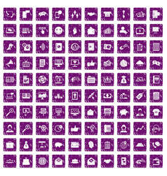 100 viral marketing icons set grunge purple vector image vector image