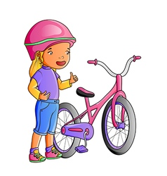 Cartoon cute little girl with bicycle vector