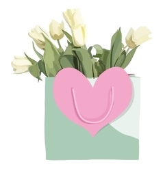 Bag and tulips flowers isolated on the white vector
