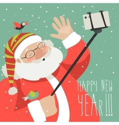 Cartoon style santa claus making selfie vector