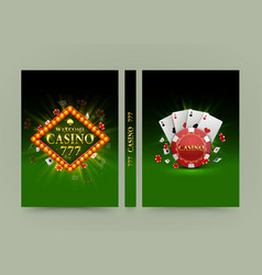 Casino banner book a4 size paper template design vector
