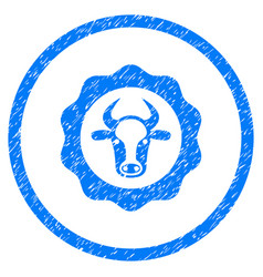 Beef certificate rounded grainy icon vector