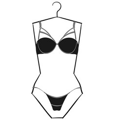 dark gray lingerie set with black laces hanging o vector image