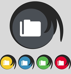 Document folder icon sign symbol on five colored vector