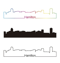 Hamilton skyline linear style with rainbow vector