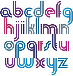 Bright lowercase letters with rounded corners vector