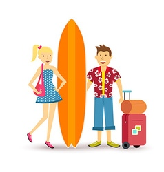 Happy couple young surf holiday summer travel vector