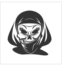 Arabic skull in hijab vector