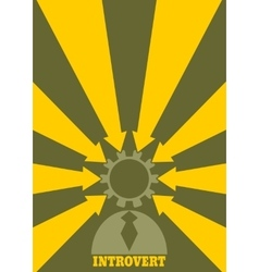 Introvert metaphor simple human torso icon vector