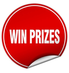 Win prizes round red sticker isolated on white vector