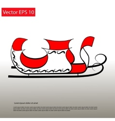 Santa red sledge elegant icon vector