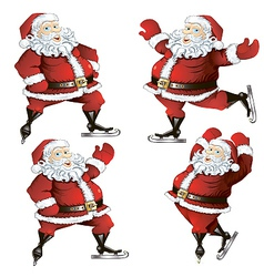 a set of skating santas vector image vector image