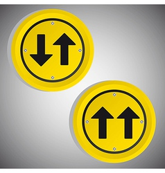 arrows yellow circle signs over gray background vector image
