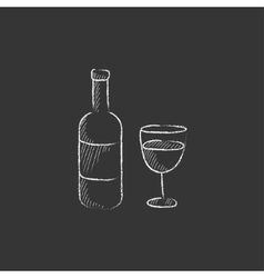Bottle of wine Drawn in chalk icon vector image