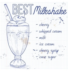 Cherry milkshake recipe on a notebook page vector