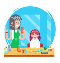 Children teenager hairdresser character cute vector