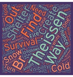 Cold weather survival text background wordcloud vector