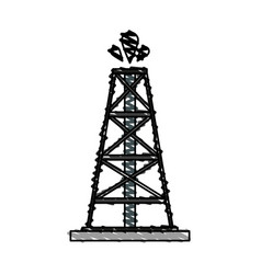Color crayon stripe cartoon oil crude tower vector