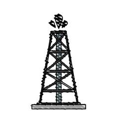 Color crayon stripe cartoon oil crude tower vector