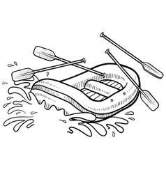 Doodle rafting splash vector