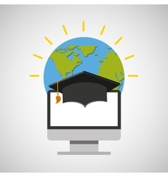 education online global cap graduation vector image