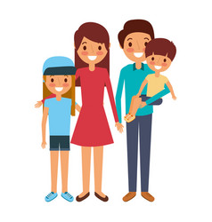 family together parents with daughter son vector image