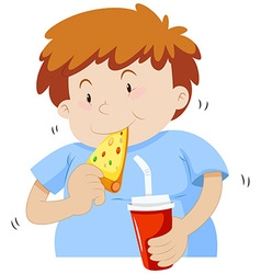 Fat boy eating pizza vector