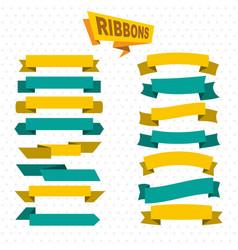 Flat bright colorful blank ribbons set vector