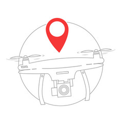 Flying drone with camera with geolocation vector