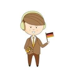 German tourist with audio guide vector