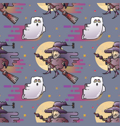 ghost and witch seamless pattern vector image