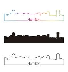 Hamilton skyline linear style with rainbow vector