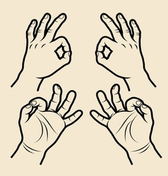 Hand signs 3 vector image
