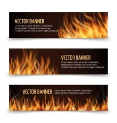 Hot fire advertisement horizontal banners vector image