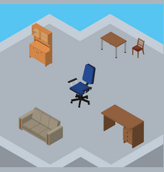 Isometric design set of cupboard couch office vector