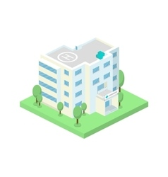 isometric hospital building and landscape vector image vector image